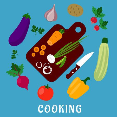 ingredients: Cooking process of a vegetable vegetarian salad with knife, chopping board and tomato, carrot, green pea, onion, potato, bell pepper, garlic, radish, beet, eggplant, zucchini, parsley. Flat style