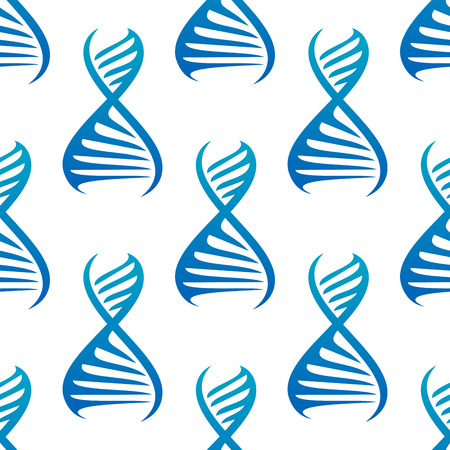 blue dna: Genetics seamless pattern background with repeated motif of blue DNA helices, for science or research design Illustration