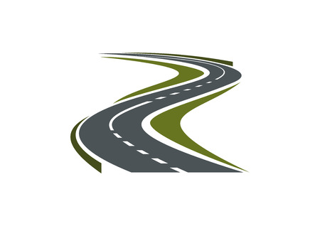Modern paved road or highway symbol with hairpin curve disappearing into the distance for car trip or transportation design
