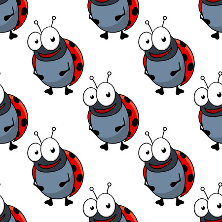 googly: Cute cartoon ladybug characters with red spotted backs seamless pattern for fabric or wallpaper design