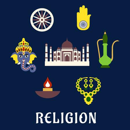 ashoka: Indian religion and culture flat symbols with Ganesha God, national flag element ashoka Chakra wheel, hamsa hand amulet, brass teapot, ethnic jewelry, Diwali lamp and Taj Mahal Illustration