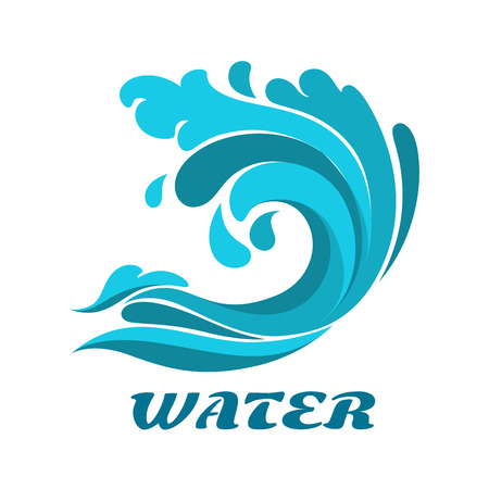 sea waves: Curling breaking ocean wave abstract symbol with caption Water forenvironment or nature design Illustration