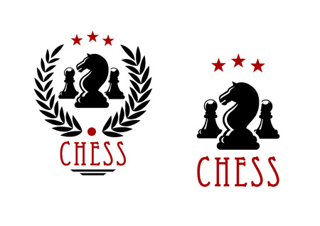 chessman: Chessman of black knights and pawns in chess tournament emblems design decorated by laurel wreath and stars Illustration