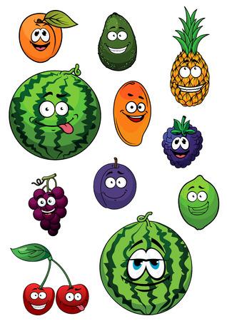 citrus tree: Cartoon sand�a fresca, aguacate, mango, lim�n, pi�a, albaricoque, mora, cereza, uva y ciruela frutas con caras felices para la agricultura o el dise�o de alimentos frescos Vectores