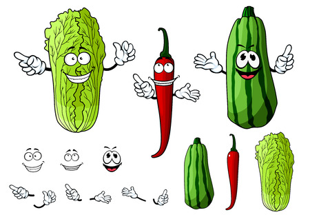 repollo: Pimienta de chile rojo mexicano, repollo chino o napa y verduras calabacín personajes de dibujos animados rayas con caras alegres para la agricultura o el diseño saludable comida vegetariana
