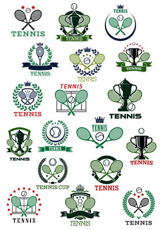 courts: Tennis heraldic emblems with balls, rackets, trophy cups bordered by courts, shields, wreaths and ribbon banners with decorative elements Illustration