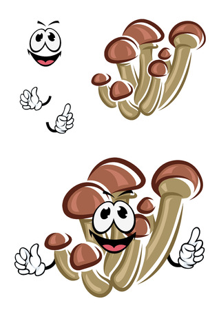 stipes: Honey agaric mushrooms cartoon character with brown caps and thin long stipes for fresh healthy food design