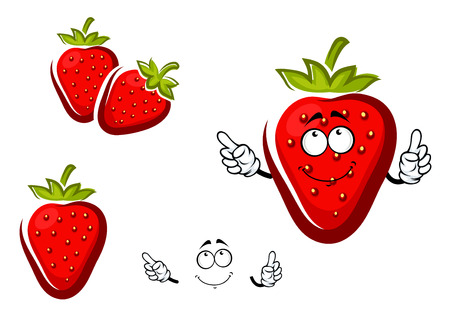 fruit stem: Sweet cartoon strawberry fruit character with green leafy cap and curved stem for agriculture or healthy natural dessert design Illustration