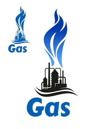 flare stack: Black silhouette of industrial plant with flare stack and high blue flame of natural gas, for oil industry design