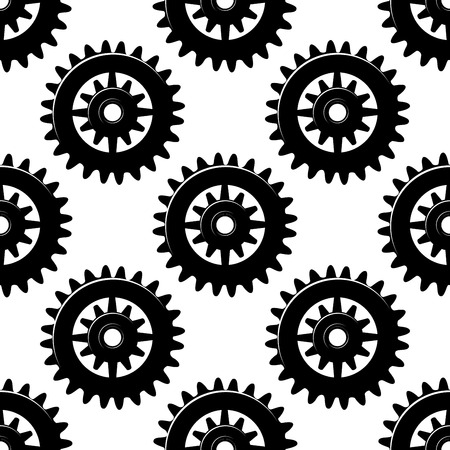 spur: Machine gears and pinions black silhouettes seamless pattern of spur cogwheels on white background for industrial design Illustration
