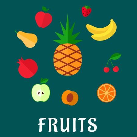 sliced tree: Fresh fruits icons in flat style with tropical pineapple,  surrounded with whole and sliced apples, orange, apricot, bananas, pear, pomegranate, strawberry and cherry