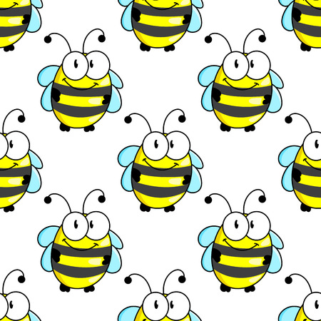 googly: Cartoon bee characters seamless pattern background with striped body and funny tiny wings