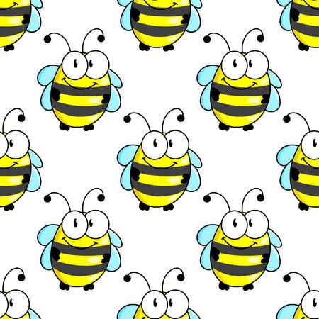 petites fleurs: Personnages de bande dessinée d'abeille seamless fond avec le corps rayé et ailes minuscules drôles