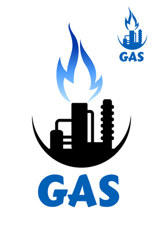 petroleum blue: Natural gas factory with flare stack and pipeline complex of chemical or oil refinery plant and blue flame, for industrial design