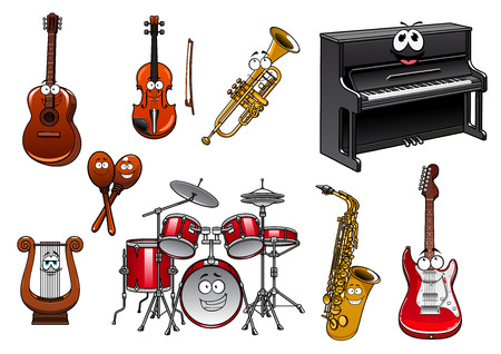 piano: Funny cartoon musical instruments characters with upright piano, acoustic and electric guitars, drum set, violin, trumpet, saxophone, maracas and lyre