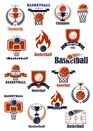 hoop: Basketball championship or club emblems with sport balls, backboards, baskets, court and trophy cups decorated with heraldic elements