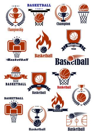 Basketball-Meisterschaft oder Mannschafts Embleme mit Sportbälle, Spielbretter, Körbe, Hof und Pokale mit heraldischen Elemente dekoriert Standard-Bild - 41678258