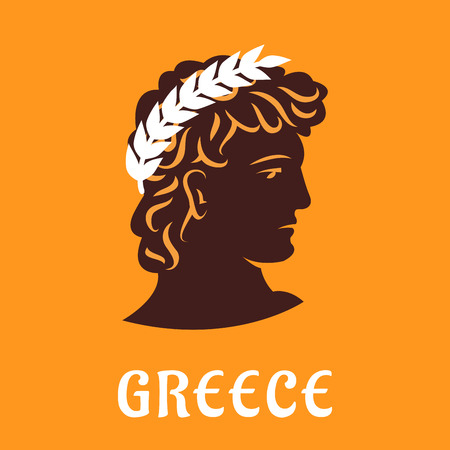 olive wreath: Ancient greek athlete head  silhouette with winner olive wreath on yellow background with caption Greece