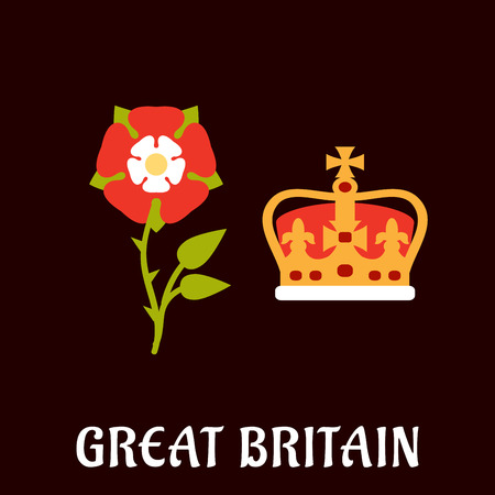 burgundy background: National heraldry symbols of Great Britain in flat style with Tudor rose and coronation st Edwards crown on burgundy background with caption