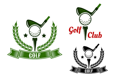 Golf club emblems or design with golf clubs ready to hit balls from tees adorned stars, laurel wreaths and ribbon banners