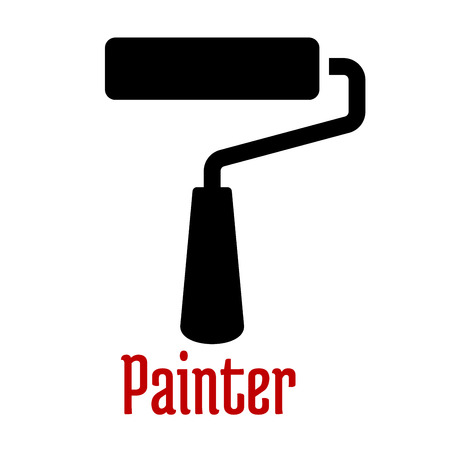 house painter: Paint roller tool black icon with cylindrical core covered a pile fabric or foam rubber