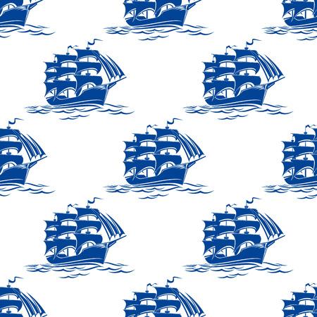 Jednolite wzór z niebieskim statków pływających na falach oceanu na morskim tle projektu Ilustracje wektorowe