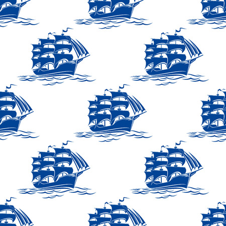 tall ship: Seamless pattern of a blue ships sailing on ocean waves for nautical background design
