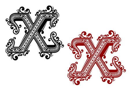 write a letter: Letter X in red and black colors decorated by vintage stylized intricate ornaments for monogram or font design