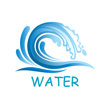 Ocean blue wave falling down with water splashes, for vacation or surfing club design