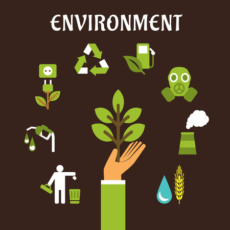 bio fuel: Conservation and environment flat concept with a human hand holding green tree surrounded by bio fuel, recycling, green energy, pollution, industry, emissions icons Illustration