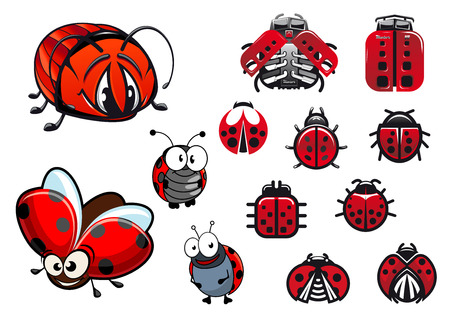 ladybug: Ladybugs, ladybirds and beetles with happy cartoon flying and crawling beetles, abstract glossy ladybirds icons and modern machinery stylized ladybugs with eight cylinder engines