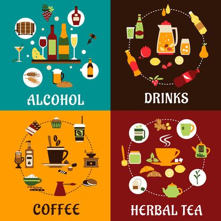Drank pictogrammen in vlakke stijl met alcohol en niet-alcoholische dranken, voeding, kruidenthee en koffie met gekleurde iingredients, tafelwaren en snacks Stockfoto - 41914597