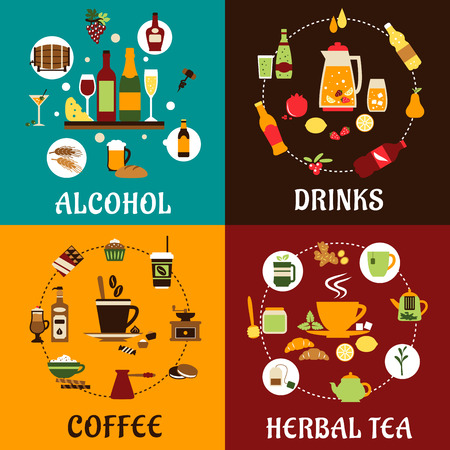 Beverage icons in flat style with alcohol and non alcohol drinks, food, herbal tea and coffee with colored iingredients, tablewares and snacks