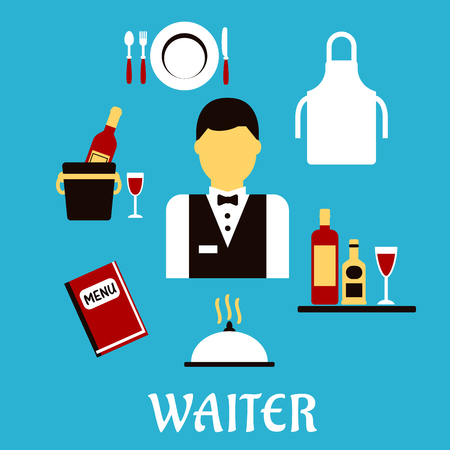 waiter tray: Waiter profession flat concept with man in uniform, bow tie encircled by menu book, apron, tray with bottles and glass, champagne in ice bucket, plate with fork, knife and spoon, silver cloche