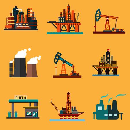 Iconos de la industria del petróleo en el estilo plano con las plataformas petrolíferas en alta mar, conectores de la bomba de aceite, plantas de refinería de petróleo, la planta de energía térmica y la estación de servicio Ilustración de vector