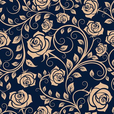 インテリアやテキスタイル デザインの濃い青の背景に緑豊かな花の咲くバラの茂みシームレス パターンの光茶色ねじれた茎