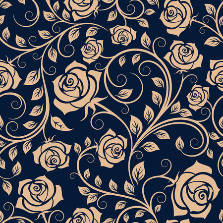 adornment: Light brown twisted stems of blooming rose bush seamless pattern, with lush flowers on dark blue background, for interior or textile design