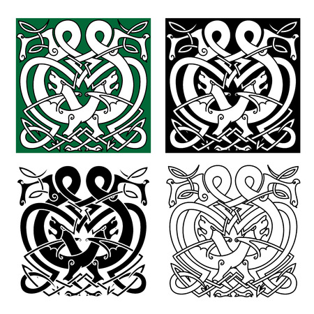 Mythical totem animal celtic ornaments with fighting dragons, decorated by tribal elements and traditional knot tracery for art, tattoo or heraldry design