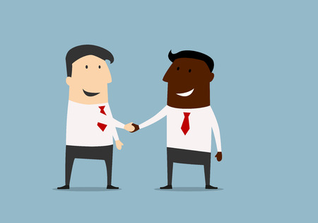 dea: Black and caucasian businessmen shaking hands and congratulating each other with successful dea. Cartoon flat design