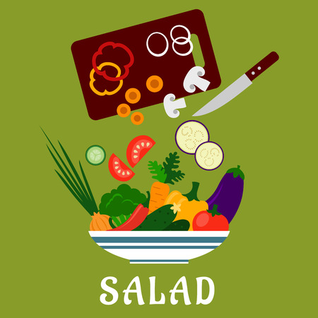Salad preparation flat design with  bowl of fresh cucumbers, bell and chili peppers, tomato, carrot, broccoli, onion, eggplant, chopping board with knife and sliced vegetables above