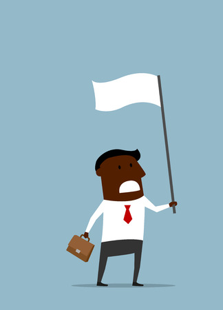 surrender: African american businessman with a briefcase waving a white flag of truce or surrender. Cartoon flat style Illustration