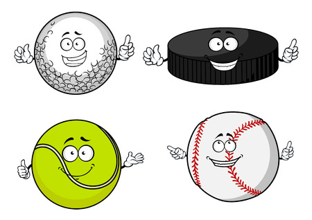 hockey equipment: Happy golf, tennis, baseball balls and ice hockey puck cartoon characters for sporting mascot design Illustration