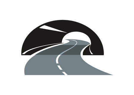 winding road: Black and grey stylized modern road icon with a tarred freeway winding through a tunnel