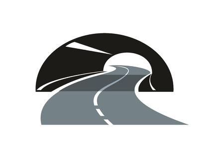 route: Icône stylisée routier moderne noir et gris avec une autoroute goudronnée qui serpente à travers un tunnel