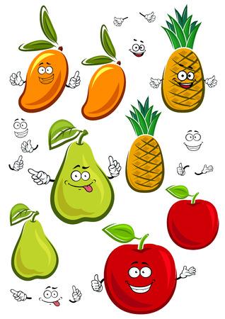 manzana caricatura: Manzana, mango, pi�a y frutas pera personajes de dibujos animados frescas jugosas con hojas verdes cursi, aislado en blanco, para la agricultura o el dise�o de la comida sana Vectores
