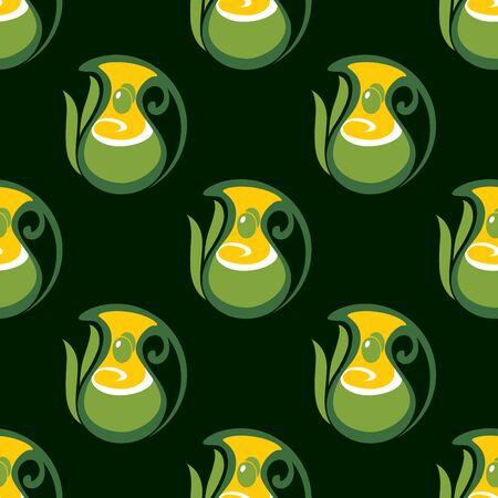 aceite de oliva virgen extra: Patr�n transparente de aceite de oliva virgen extra con la aceituna en jarras, decoradas por las hojas en el fondo de color verde oscuro, para fondo de pantalla o dise�o de la comida vegetariana