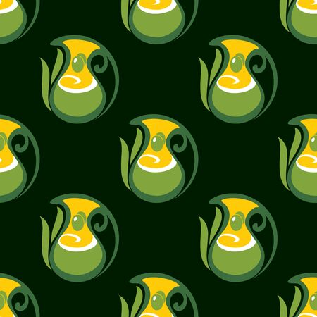 extra virgin olive oil: Seamless pattern of extra virgin olive oil with olive fruits in  jugs, decorated by leaves on dark green background, for wallpaper or vegetarian food design