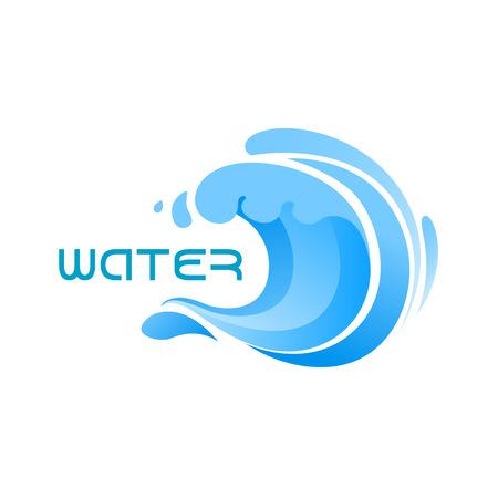 Swirling blue ocean wave or surf emblem for business, technology, nature or travel design