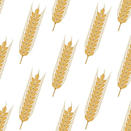 Golden ears of wheat seamless background pattern with a repeat motif arranged diagonally in square format