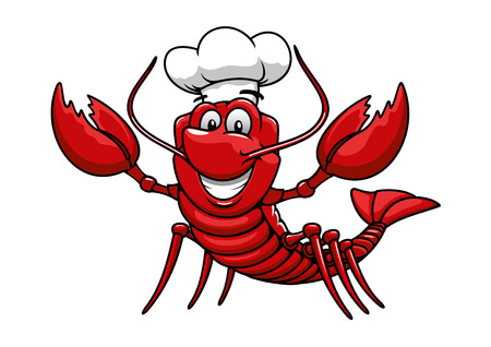 Happy cartoon red lobster chef mascot character with white uniform toque cap. For restaurant or seafood design